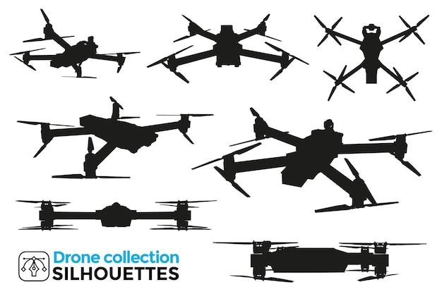 Coleção de silhuetas de drones isoladas em diferentes pontos de vista. detalhes altos. recursos gráficos.