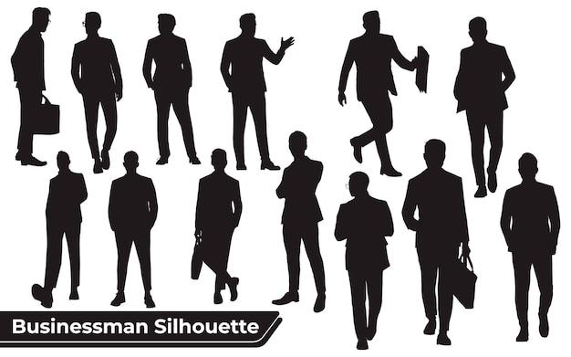 Coleção de silhuetas de empresários em diferentes poses