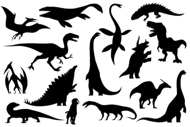 Coleção de silhuetas de esqueletos de dinossauros