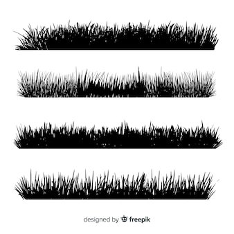 Coleção de silhuetas de fronteira de grama preta