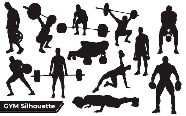 Coleção de silhuetas de ginástica ou exercícios em diferentes poses