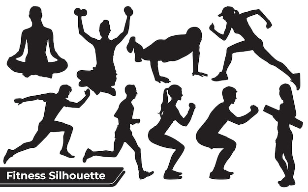 Coleção de silhuetas de homem e mulher de fitness em diferentes posições
