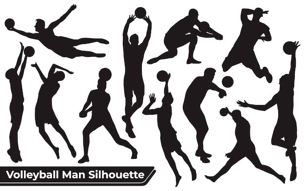 Coleção de silhuetas de homem jogador de voleibol em diferentes poses