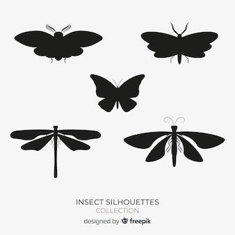 Coleção de silhuetas de insetos alados