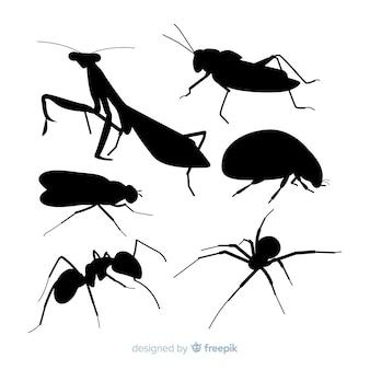 Coleção de silhuetas de insetos plana