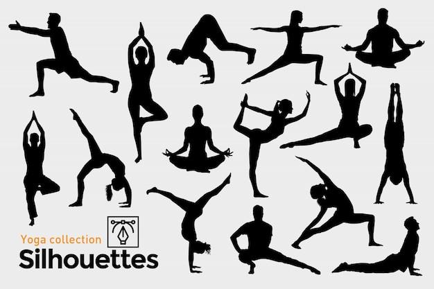 Coleção de silhuetas de ioga.