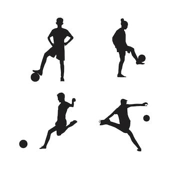 Coleção de silhuetas de jogadores de futebol isolada em fundo branco
