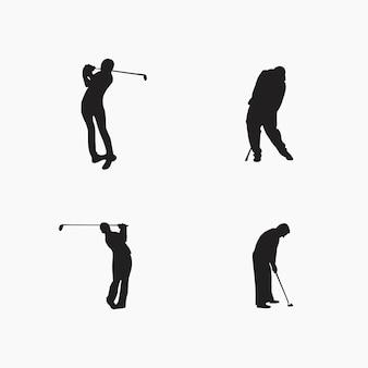 Coleção de silhuetas de jogadores de golfe