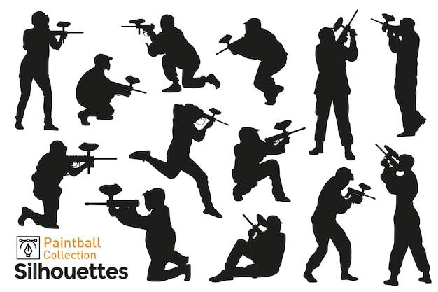 Coleção de silhuetas de jogadores de paintball. poses diferentes de pessoas brincando com armas.