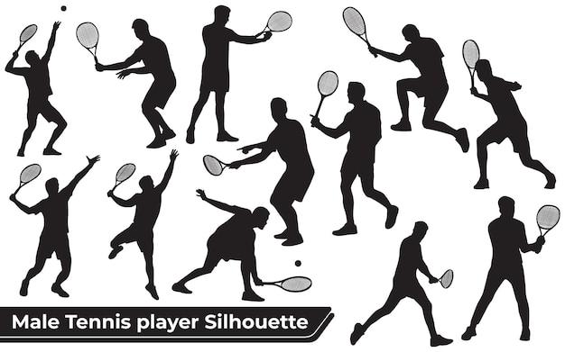 Coleção de silhuetas de jogadores de tênis masculinos em diferentes poses
