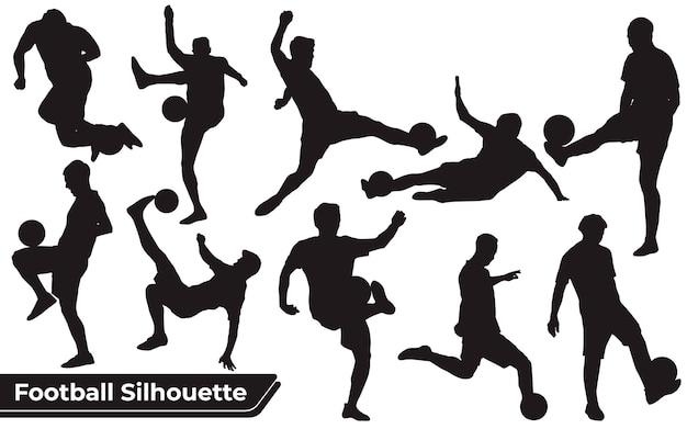 Coleção de silhuetas de jogo de futebol em diferentes posições