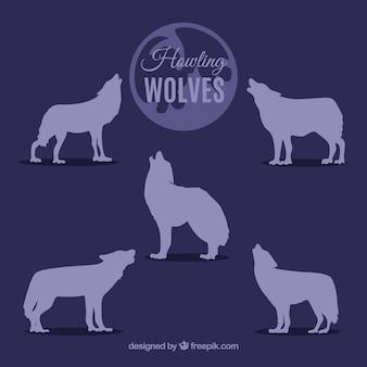 Coleção de silhuetas de lobos uivando