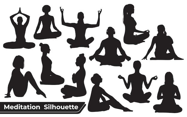 Coleção de silhuetas de meditação ou ioga em diferentes poses
