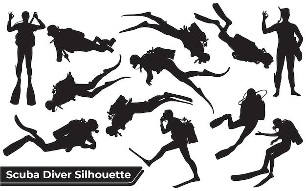 Coleção de silhuetas de mergulho autônomo em diferentes poses