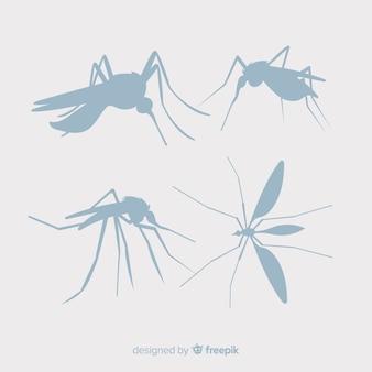 Coleção de silhuetas de mosquito