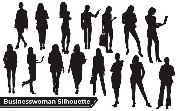 Coleção de silhuetas de mulheres de negócios em diferentes poses