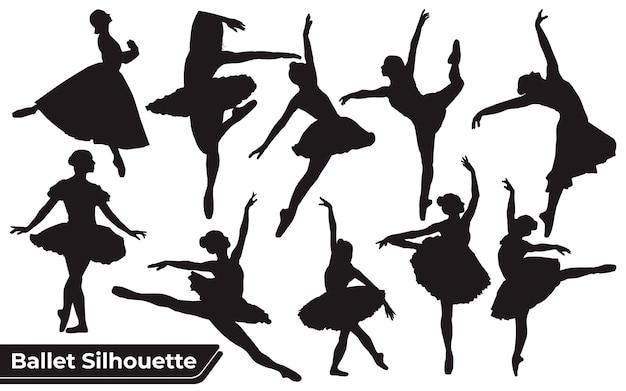 Coleção de silhuetas de mulheres em vetor preto e branco dançando balé de estilos de anatomia corporal feminina