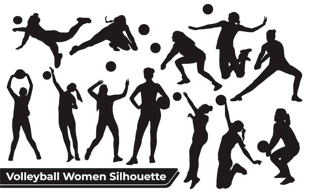 Coleção de silhuetas de mulheres jogadoras de voleibol em diferentes poses