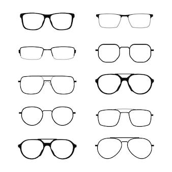 Coleção de silhuetas de óculos isoladas. recursos gráficos.