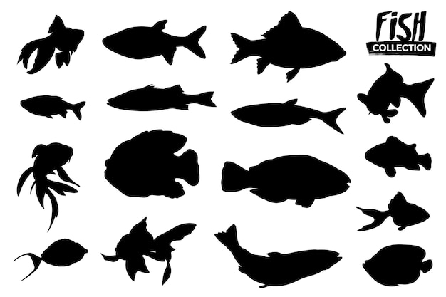 Coleção de silhuetas de peixes isoladas. recursos gráficos.