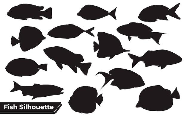 Coleção de silhuetas de peixes