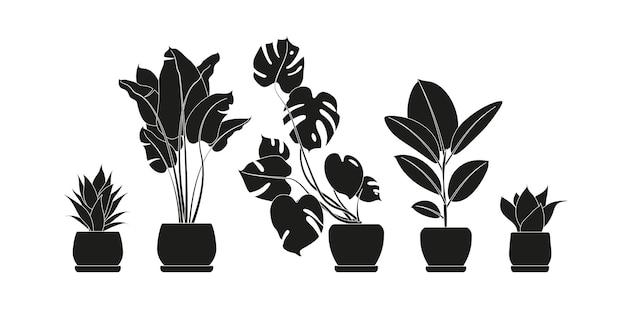 Coleção de silhuetas de plantas de interior na cor preta. plantas em vasos isoladas