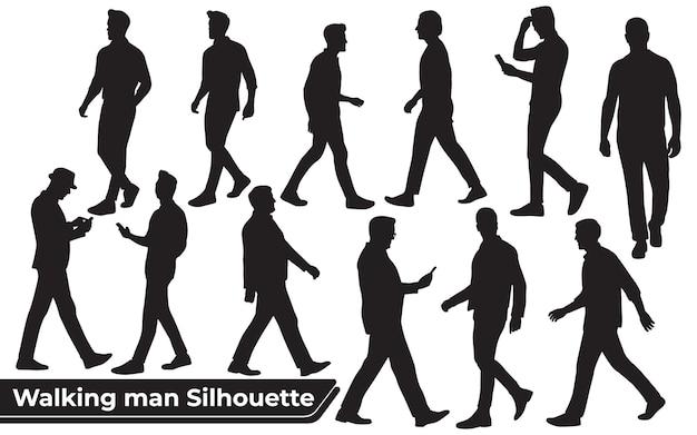 Coleção de silhuetas de walking man em diferentes poses