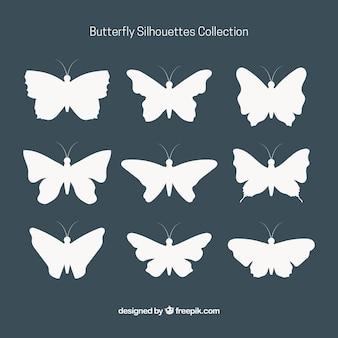 Coleção de silhuetas decorativas borboleta