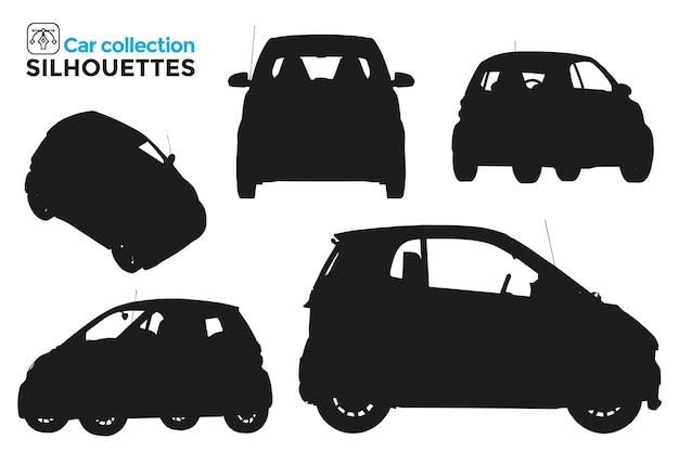 Coleção de silhuetas isoladas de carros pequenos em diferentes pontos de vista. recursos gráficos.