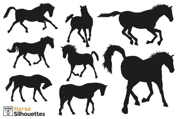 Coleção de silhuetas isoladas de cavalos selvagens em diferentes poses.