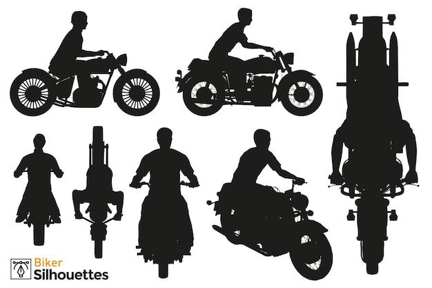 Coleção de silhuetas isoladas de diferentes poses de motociclista dirigindo motocicleta cafe racer.