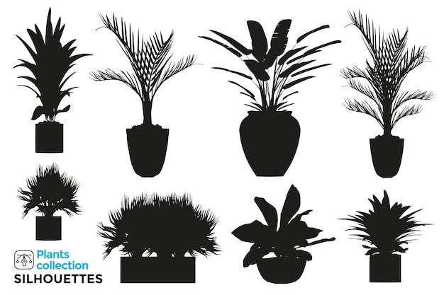 Coleção de silhuetas isoladas de diversos vasos de plantas