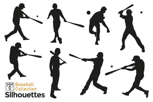 Coleção de silhuetas isoladas de jogadores de beisebol. vetor premium.