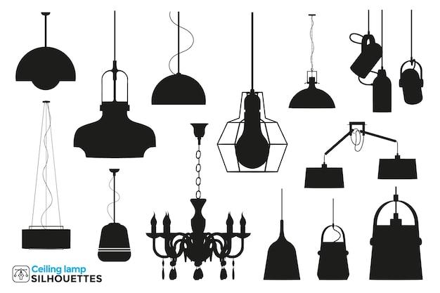 Coleção de silhuetas isoladas de lâmpadas de teto em diferentes pontos de vista.