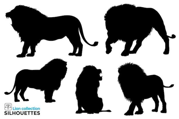Coleção de silhuetas isoladas de leões em diferentes poses.