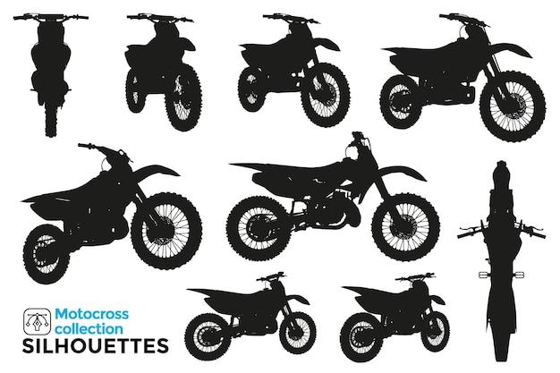 Coleção de silhuetas isoladas de motocicletas de motocross em diferentes vistas