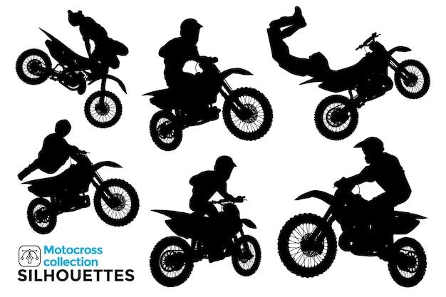 Coleção de silhuetas isoladas de motociclistas dirigindo motocross extremo