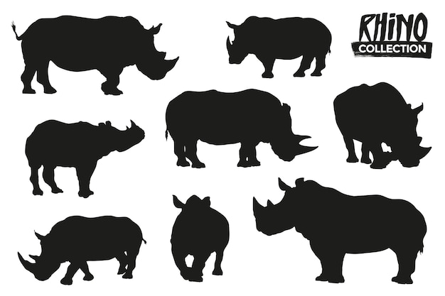Coleção de silhuetas isoladas de rinoceronte. recursos gráficos.