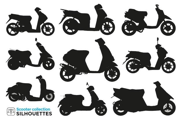Coleção de silhuetas isoladas de scooter de motocicleta