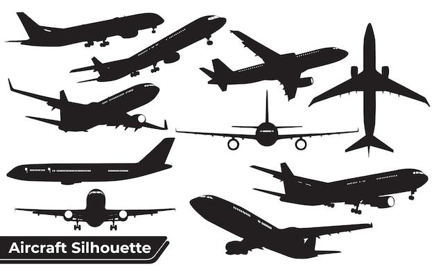 Coleção de silhuetas negras de aviões