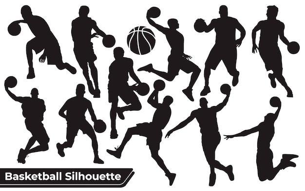 Coleção de silhuetas negras de jogadores de basquete