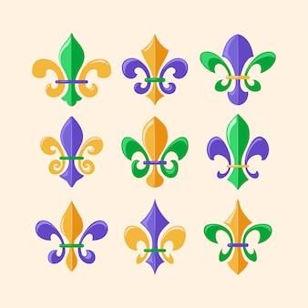 Coleção de símbolo de flor de lis ou lírio real