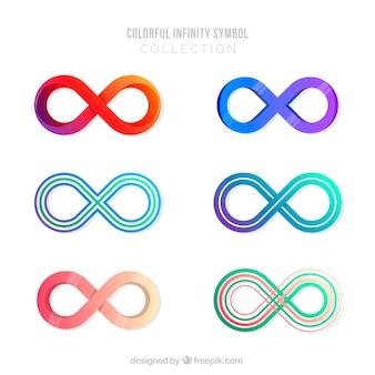Coleção de símbolo de infinito com cores