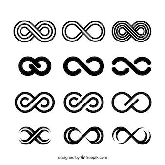 Coleção de símbolo de infinito preto