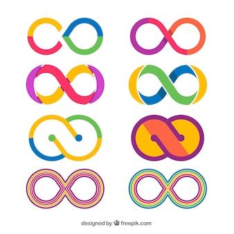 Coleção de símbolo infinito colorido