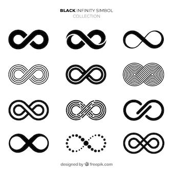 Coleção de símbolo infinito preto elegante