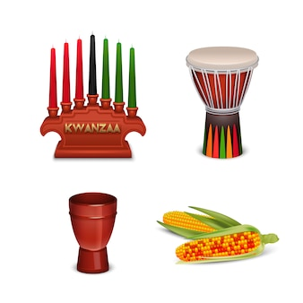Coleção de símbolos coloridos de feriado de kwanzaa