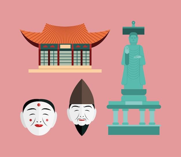 Coleção de símbolos da coreia do sul em fundo rosa