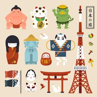 Coleção de símbolos da cultura japonesa