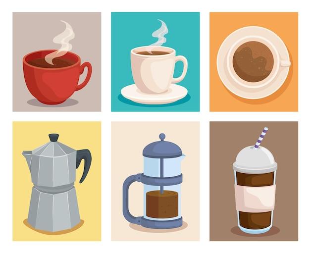 Coleção de símbolos de café